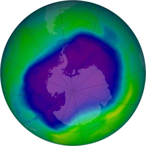 Image of the largest Antarctic ozone hole ever recorded (September 2006). Courtesy of wikipedia.org.